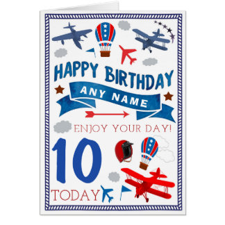 Plane Aeroplane Personalised Birthday Card