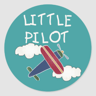 Plane and Clouds Little Pilot Classic Round Sticker