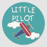 Plane and Clouds Little Pilot Round Sticker