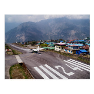 Plane at Lukla Mountain Airport Landing Strip Postcard