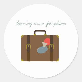 Plane Luggage Round Stickers