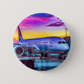 Plane Parked at Barajas Airport, Madrid, Spain 2 Inch Round Button
