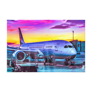 Plane Parked at Barajas Airport, Madrid, Spain Canvas Print