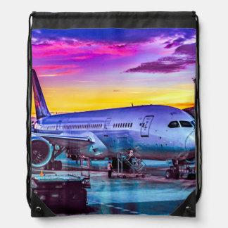 Plane Parked at Barajas Airport, Madrid, Spain Drawstring Bag