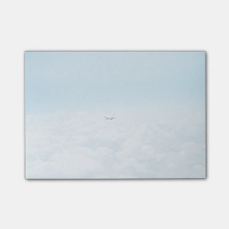 Plane Themed, A Airplane Flies In Blue Skies Above Post-it Notes
