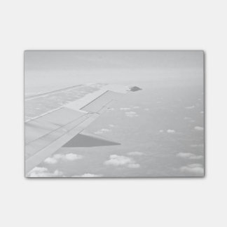 Plane Themed, Grayscale Airplane Wings Flying Over Post-it® Notes
