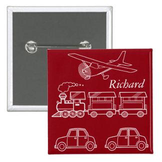 Plane, Train and Car Design ~ editable background 2 Inch Square Button