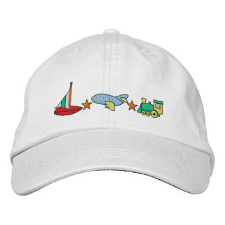 Plane, Train, Sailboat Embroidered Hat