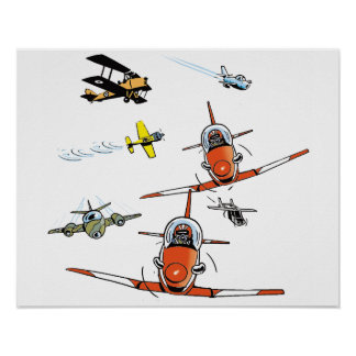 Planes Flying Aviation Art Poster
