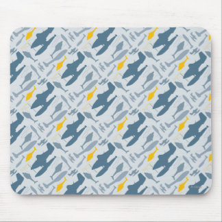 Planes Silhouettes Pattern Mouse Pad