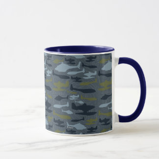 Planes Silhouettes Topographical Pattern Mug