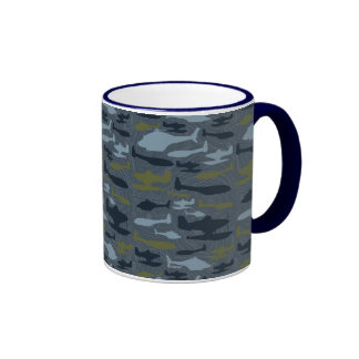 Planes Silhouettes Topographical Pattern Ringer Coffee Mug