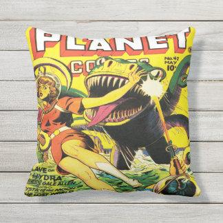 PLANET COMICS SCI FI ART ILLUSTRATION THROW PILLOW
