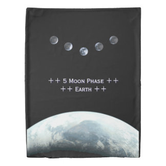 Planet Earth 5 Moon Phase Space Duvet Cover
