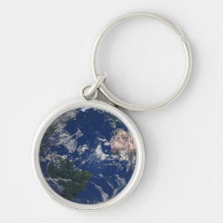 PLANET EARTH AFRICA CONTINENTS BLUE OCEAN GREEN Silver-Colored ROUND KEYCHAIN