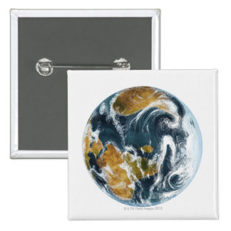 Planet Earth and clouds seen from space 2 Inch Square Button