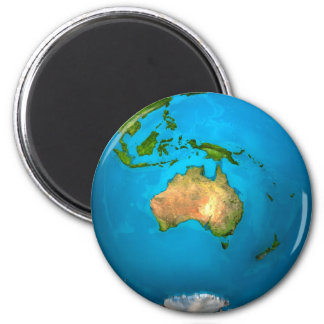 Planet Earth - Australia - Colorful Globe. 3d 2 Inch Round Magnet