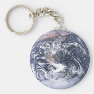 Planet Earth Basic Round Button Keychain