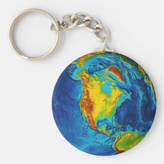 Planet Earth Basic Round Button Keychain