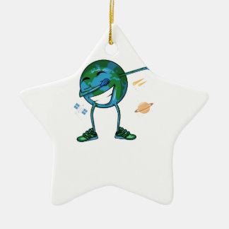 Planet Earth Dabbing Ceramic Ornament
