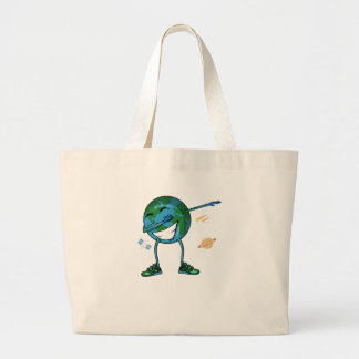 Planet Earth Dabbing Large Tote Bag