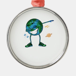 Planet Earth Dabbing Metal Ornament
