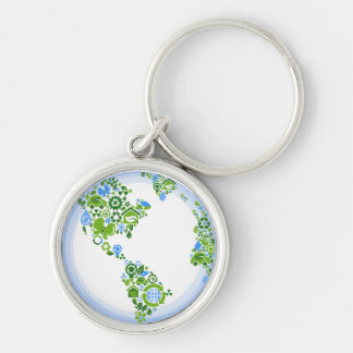 Planet Earth Eco Green Recycle Keychain, Small Silver-Colored Round Keychain