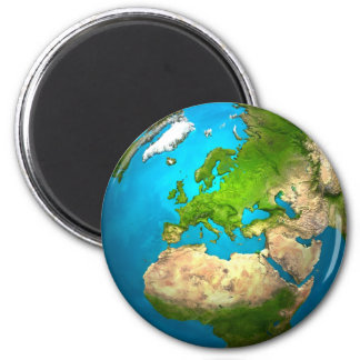 Planet Earth - Europe - Colorful Globe. 3d Render 2 Inch Round Magnet