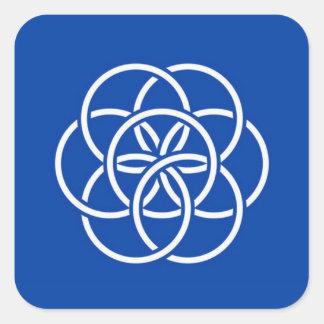 Planet earth flag square sticker