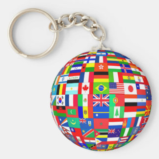PLANET EARTH & FLAGS BASIC ROUND BUTTON KEYCHAIN