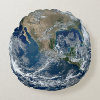 Planet Earth from Outer Space with Clouds Round Pillow
