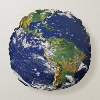 Planet Earth from space mancave Round Pillow
