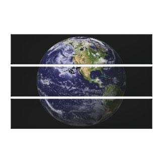 Planet Earth on Black Background Canvas Print
