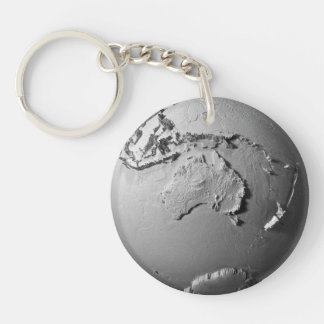 Planet Earth On White Background - Australia, 3d Double-Sided Round Acrylic Keychain