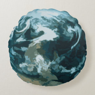 Planet Earth Painting Round Pillow