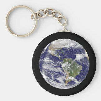 Planet Earth Photographic Round Globe Keychain