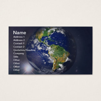 Planet earth rising above the sun in space business card