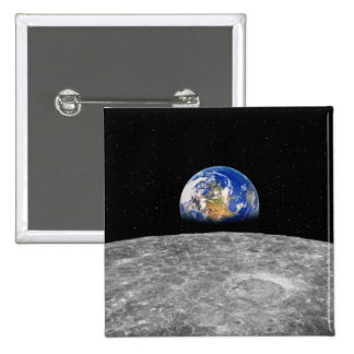 Planet earth rising over Moon 2 Inch Square Button