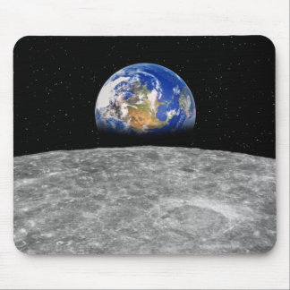 Planet earth rising over Moon Mouse Pad