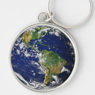 PLANET EARTH (solar system) ~ Silver-Colored Round Keychain