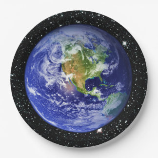 PLANET EARTH v3 star background (solar system) ~ 9 Inch Paper Plate