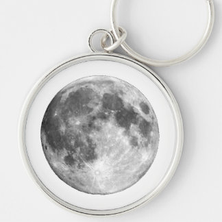 PLANET EARTH'S MOON (solar system) ~~ Silver-Colored Round Keychain