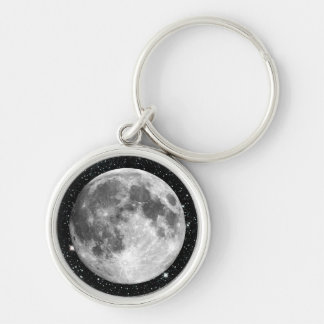 PLANET EARTH'S MOON star background (solar system) Silver-Colored Round Keychain