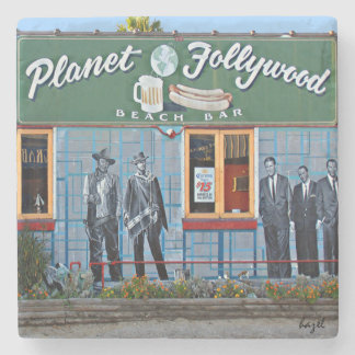 Planet Follywood, Folly Beach, Coaster. Stone Coaster