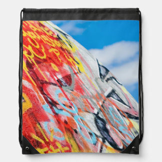 planet graffiti drawstring bag