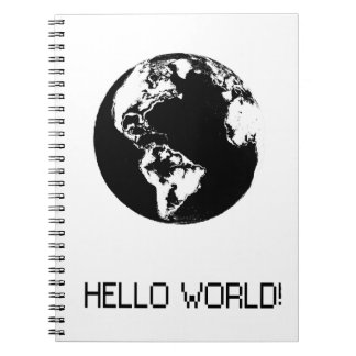 planet Hello black World Notebook