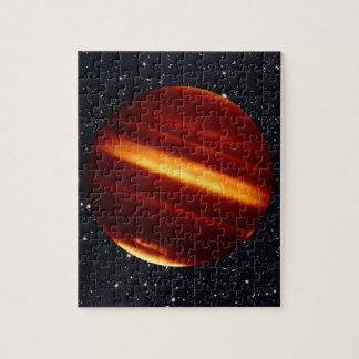 Planet Jupiter in Infrared Light with Starry Sky Jigsaw Puzzle