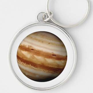 PLANET JUPITER v.4 (solar system) ~ Silver-Colored Round Keychain