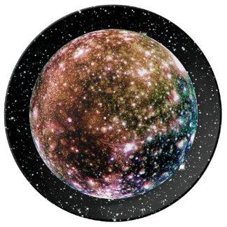 PLANET JUPITER'S MOON - CALLISTO Star Background 2 Plate