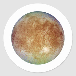 PLANET JUPITER'S MOON EUROPA (solar system) ~ Round Sticker